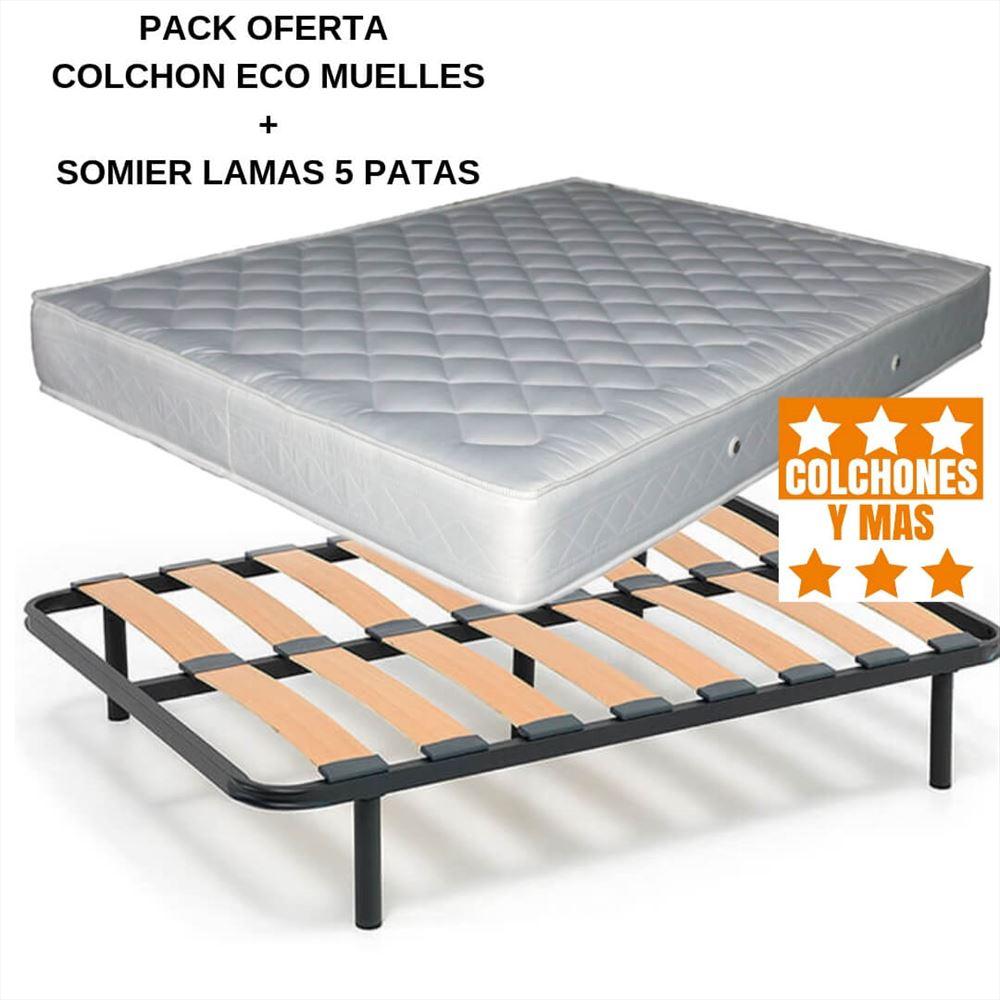 Colchon Somier Oferta.Pack Colchon Eco Muelles Somier Bueno 5 Patas
